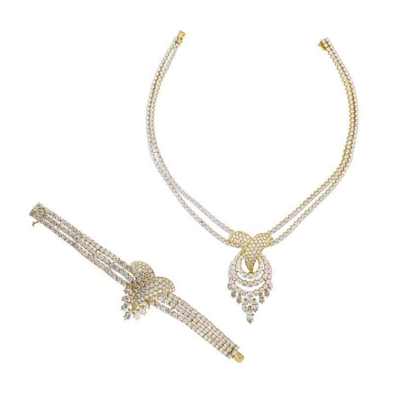 Louis Gerard M Gerard Diamond Bracelet and Necklace Suite