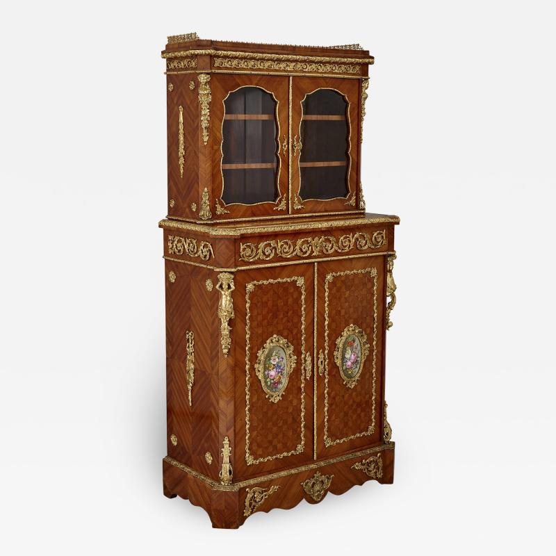 Louis Grade Napoleon III period gilt bronze and porcelain mounted cabinet by Louis Grade