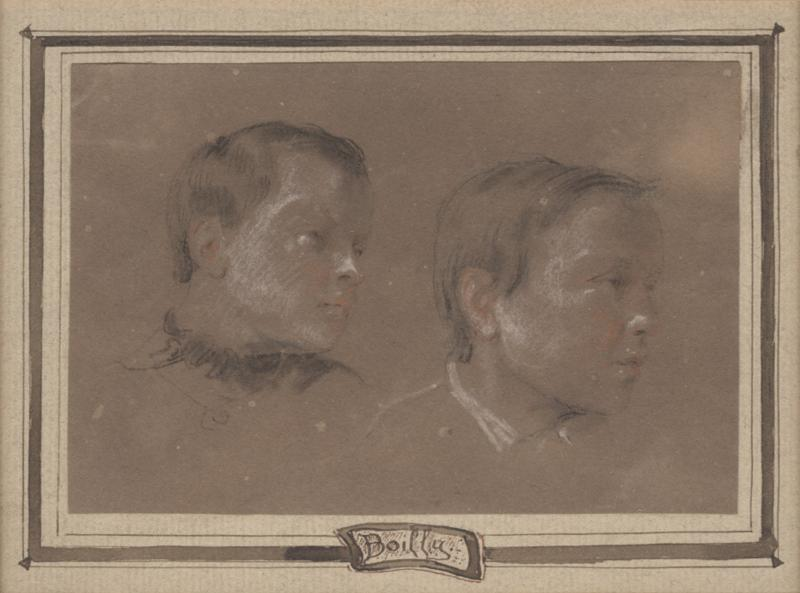 Louis Leopold Boilly Two Portrait Studies of Young Boys possibly artists sons