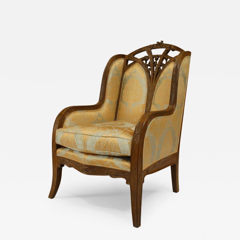 Louis Majorelle French Art Nouveau Walnut Bergere Armchair