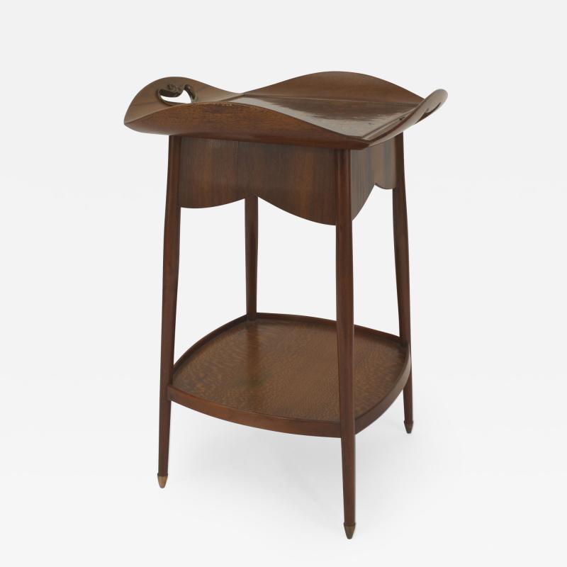 Louis Majorelle French Art Nouveau Walnut Square End Table