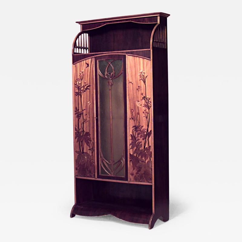 Louis Majorelle French Art Nouveau Walnut and Inlaid Floral Design 3 Door Armoire Cabinet