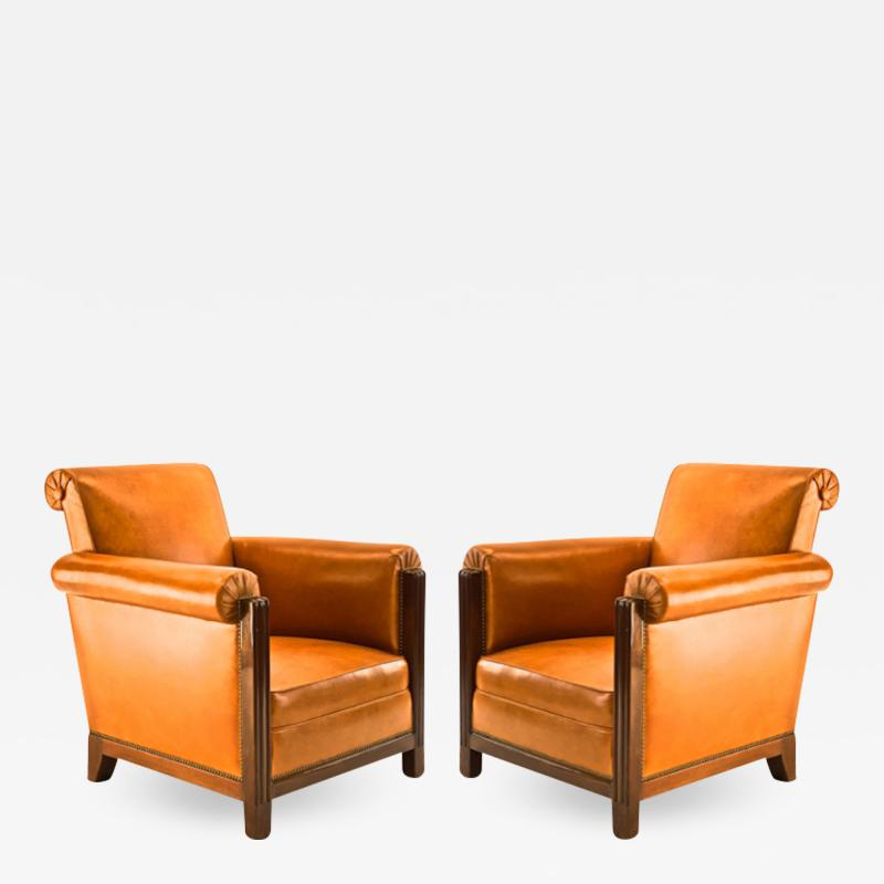 Louis Majorelle Louis Majorelle pair of comfy Art Deco club chairs newly restored in leather