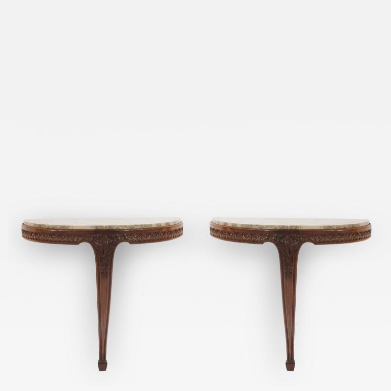 Louis Majorelle Pair of French Art Nouveau Mahogany Bracket Console Tables