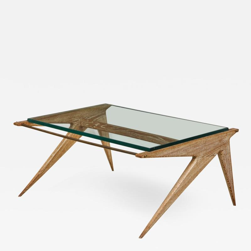 Louis Paolozzi Low Oak and Glass Table by Louis Paolozzi