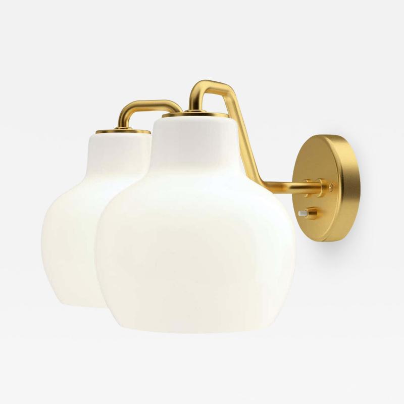 Louis Poulsen Vilhelm Lauritzen VL 2 Brass and Glass Wall Lamp for Louis Poulsen
