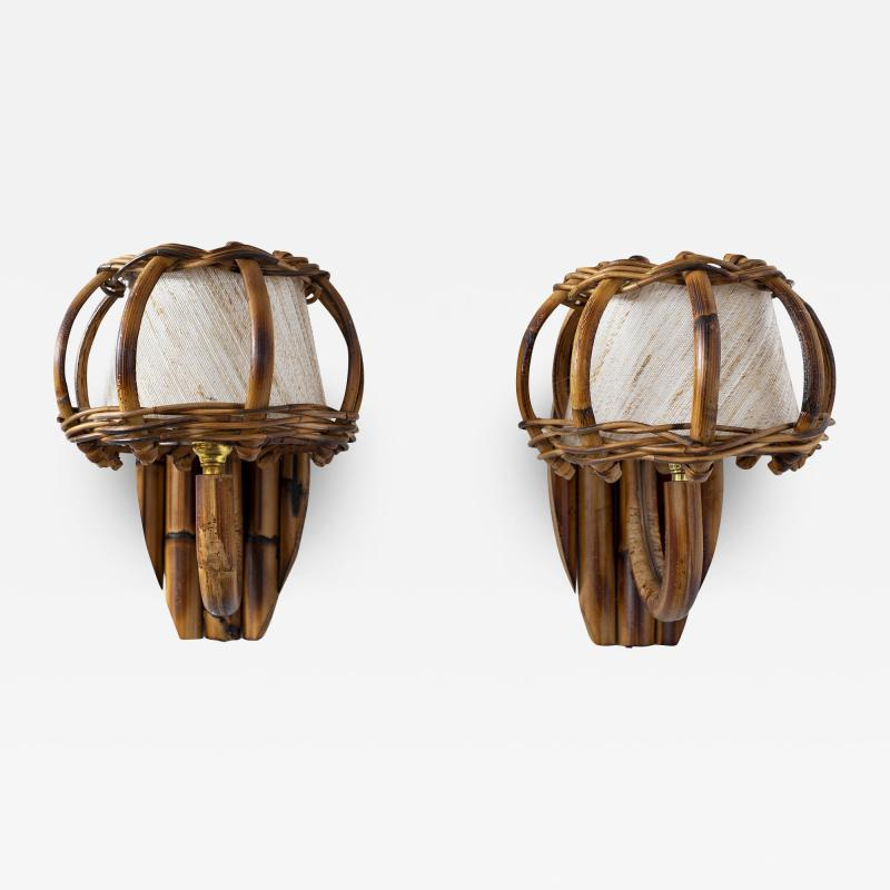 Louis Sognot BAMBOO WALL SCONCES ATTRIBUTED TO LOUIS SOGNOT