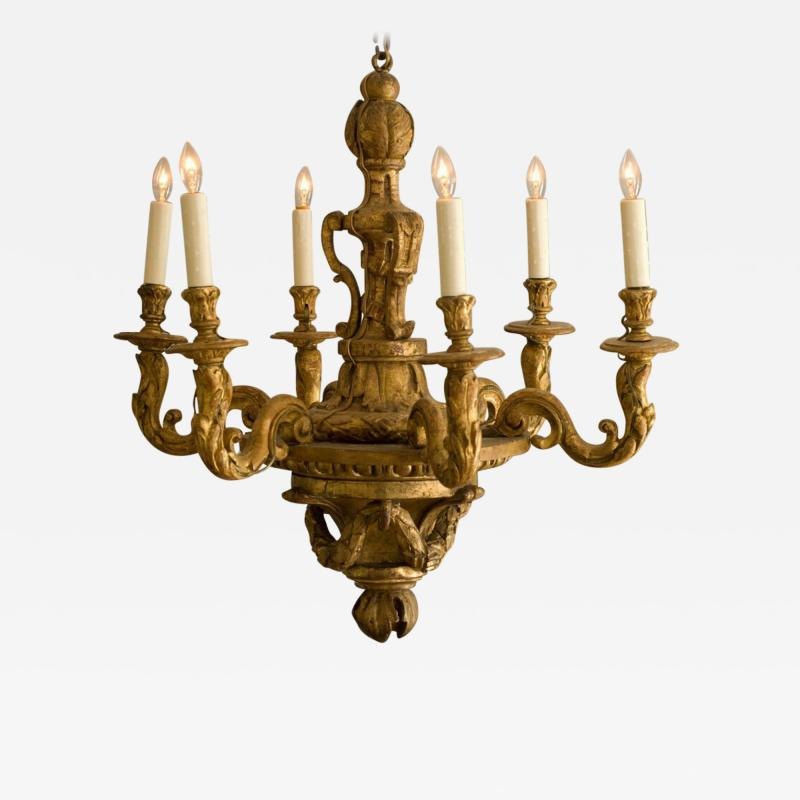 Louis XIV Carved and Gilded Wood Chandelier