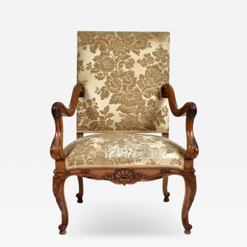 Louis XV Walnut Fauteuil Arm Chair 19th C French