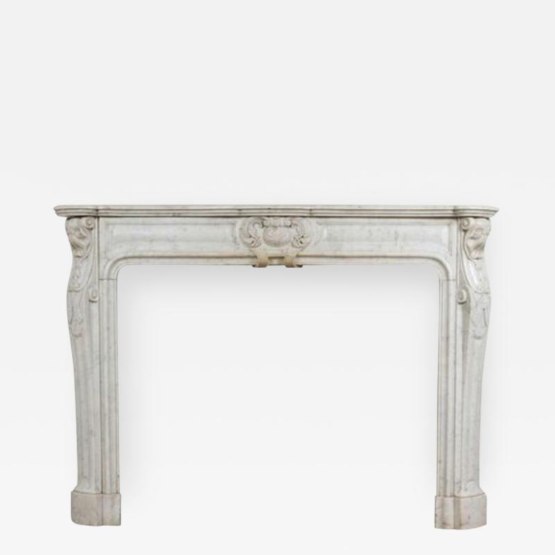 Louis XV XVI Transitional Style Marble Mantle