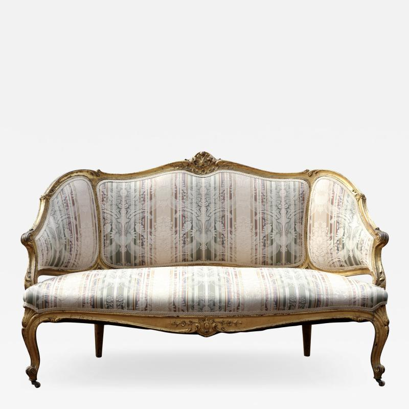 Louis XVI Gilt Carved Settee 19th Century France