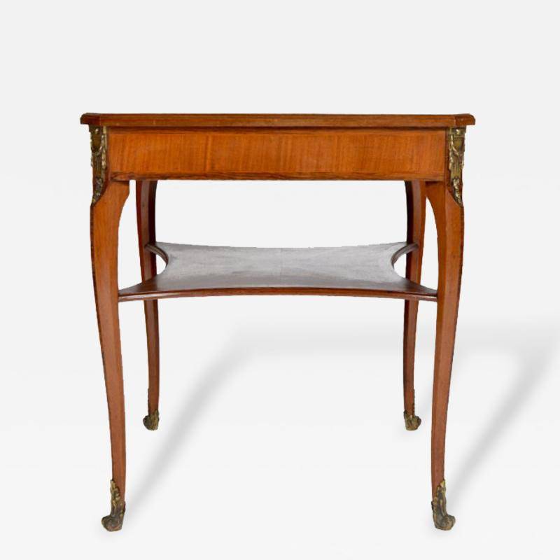 Louis XVI Style Square Two Tier Satinwood Center Table