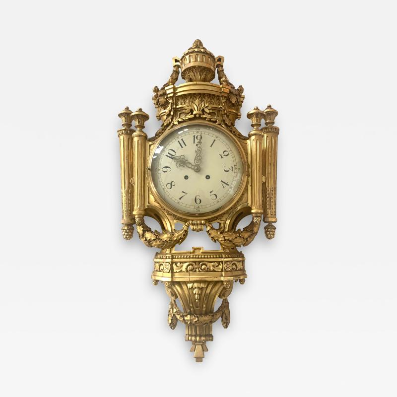 Louis XVI Style Wall Clock Gold Plate Enamel and Brass France Early 20th Century