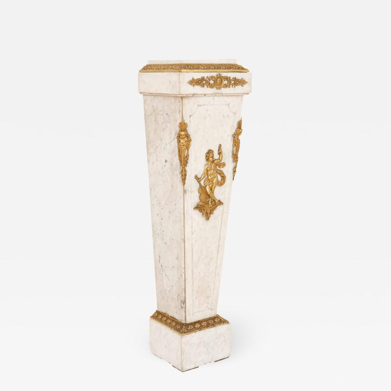 Louis XVI style French gilt bronze and marble pedestal