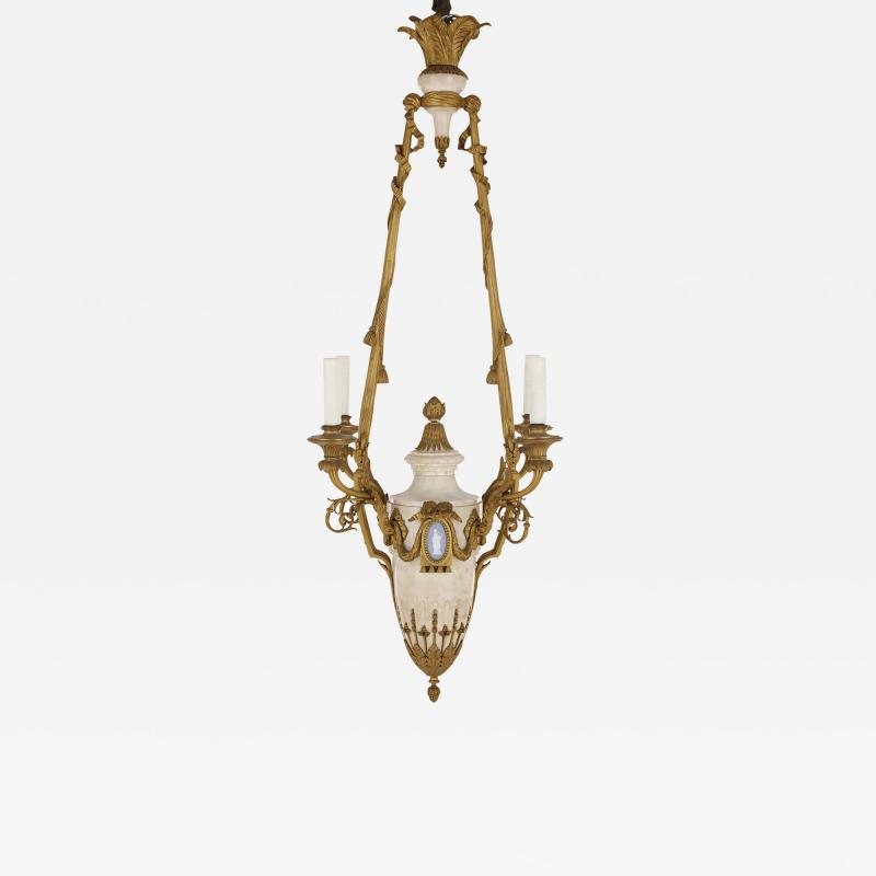 Louis XVI style marble gilt bronze and jasperware chandelier