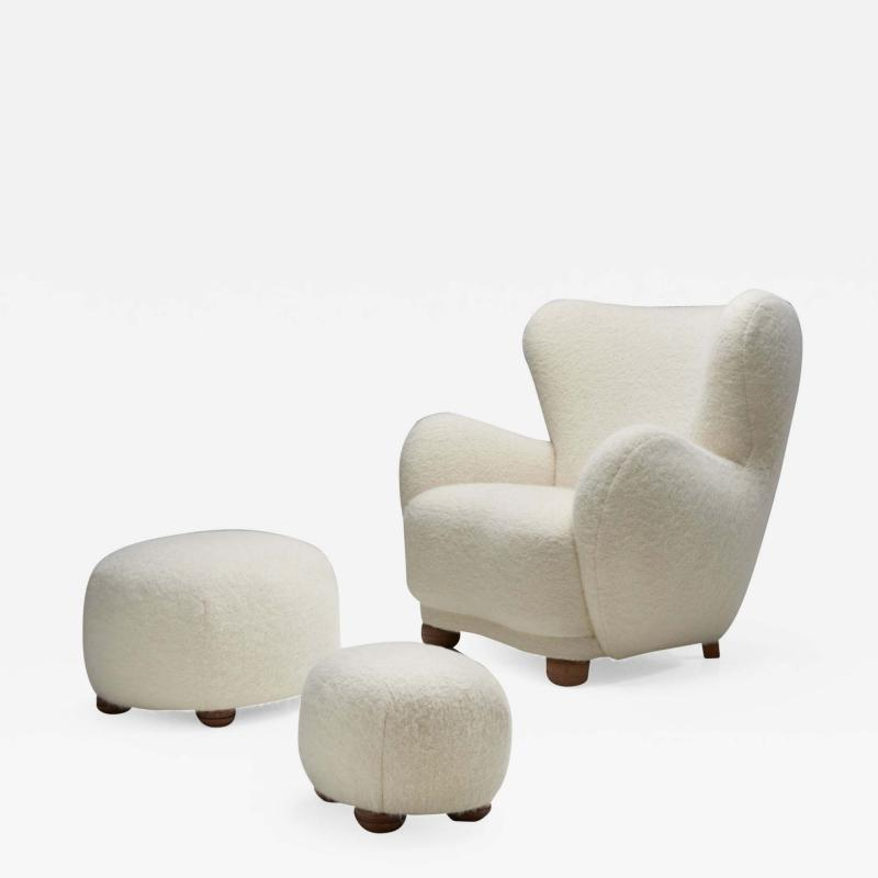 Lounge Chair with Ottomans by Danish Cabinetmaker Denmark 1960s