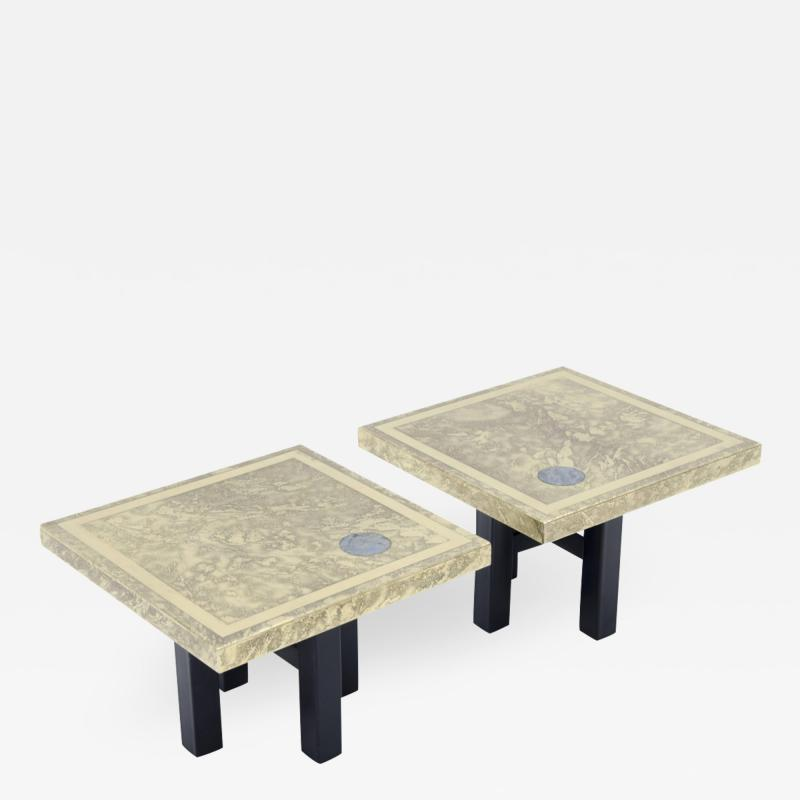 Lova Creations A pair of etched brass side tables inlaid of Labradorite stone by Lova Creation