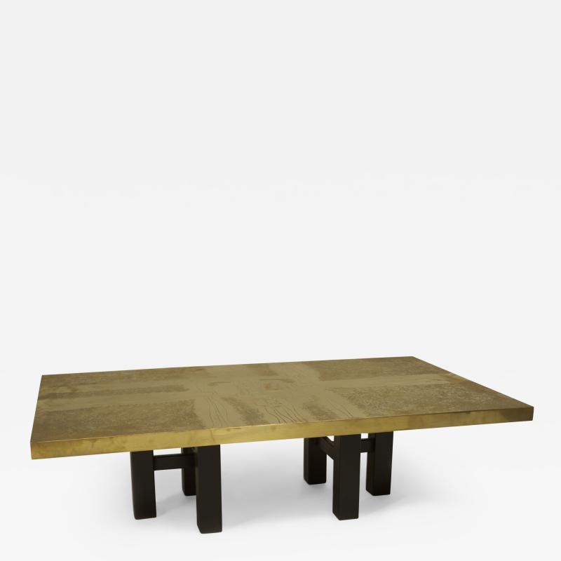 Lova Creations Belgian Post War Design Rectangular Brass Coffee Table