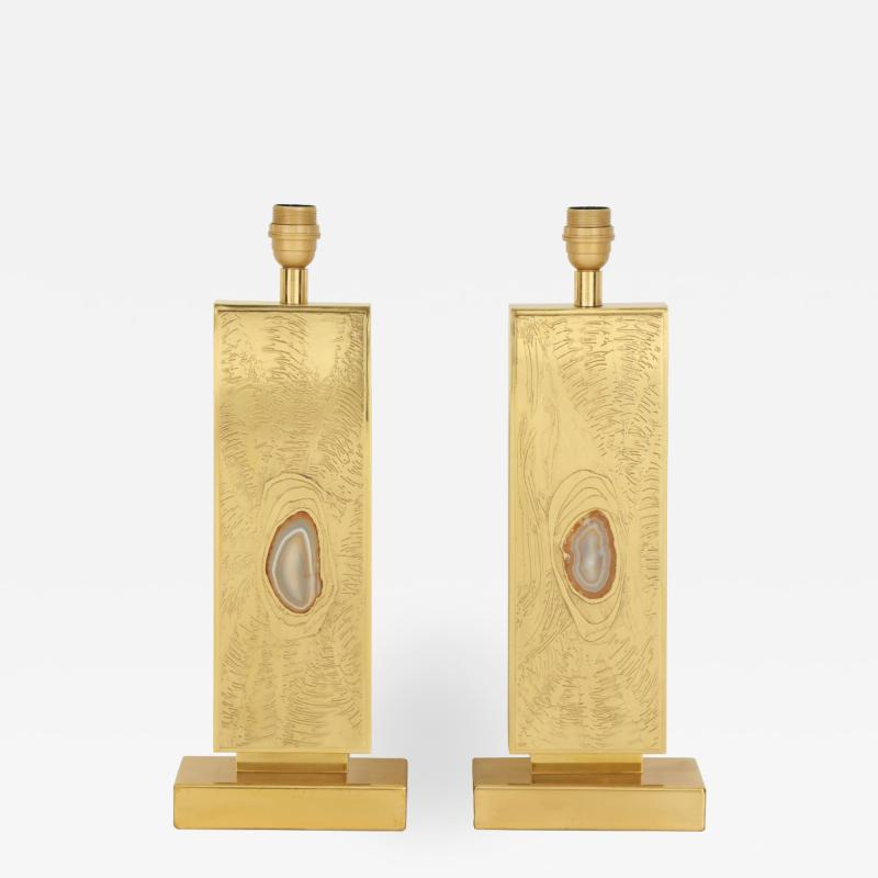 Lova Creations Pair of etched brass table lamps by Lova creation