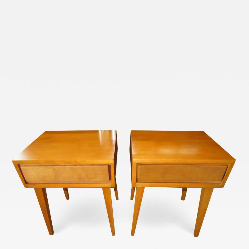 Lovely Pair of Conant Ball Maple Nightstand Tables Mid Century Modern