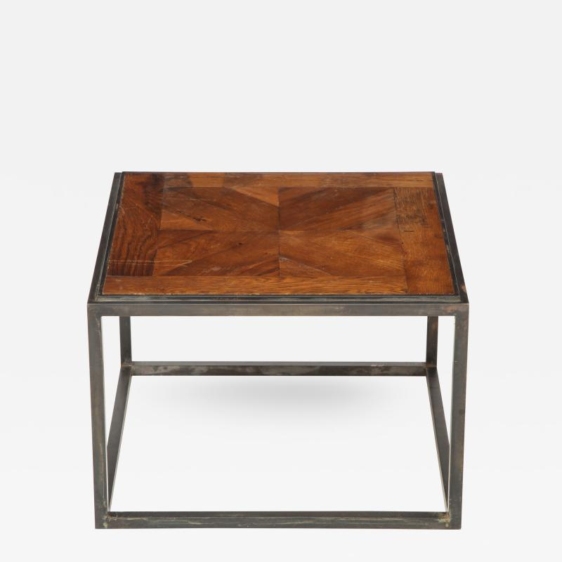 Lucca Co Made to Order Parquet Side Table on Metal Base
