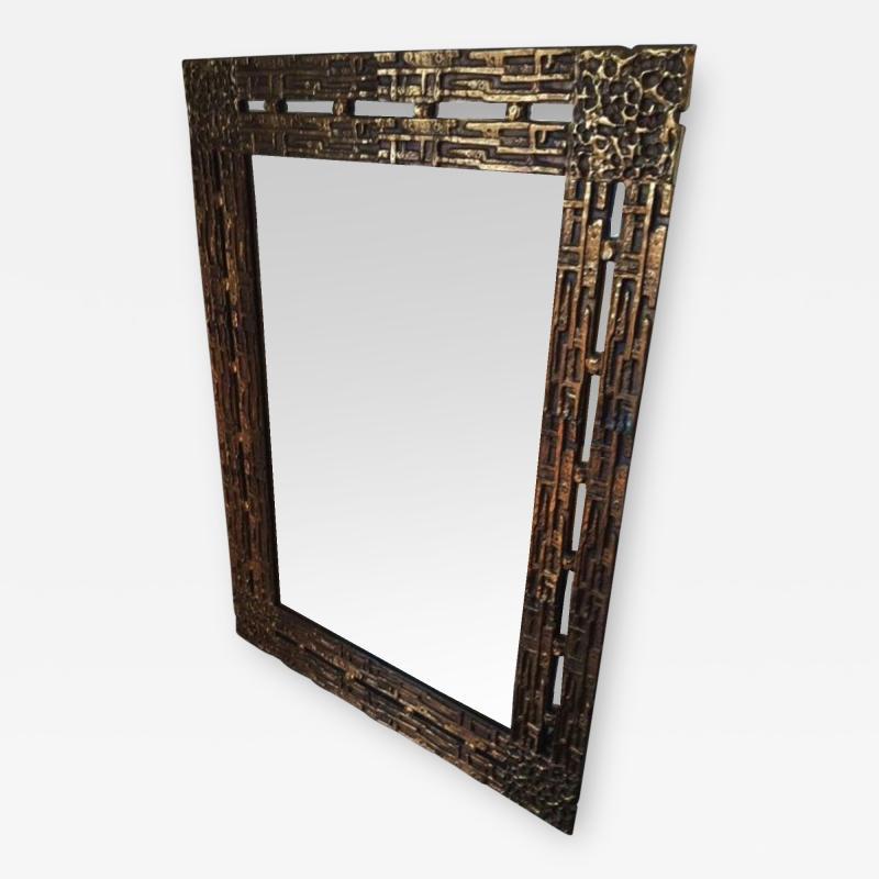 Luciano Frigerio 1970s Mirror Desir e in Bronze by L Frigerio