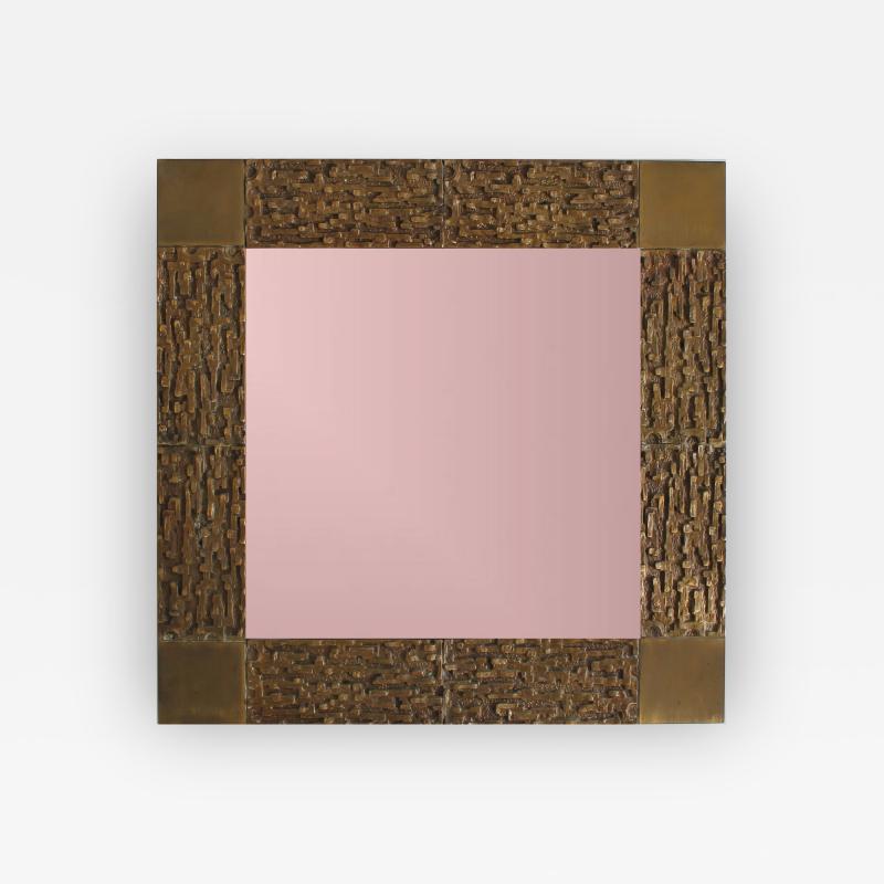 Luciano Frigerio Bronze wall Mirror by Luciano Frigerio