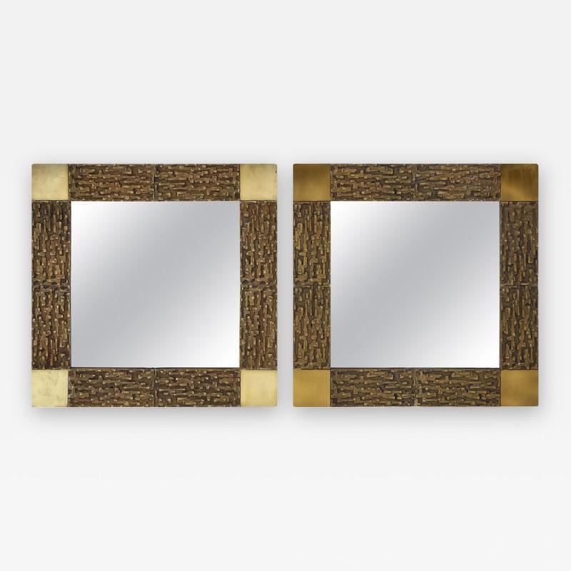 Luciano Frigerio Pair of Luciano Frigerio 1970s Bronze Mirrors