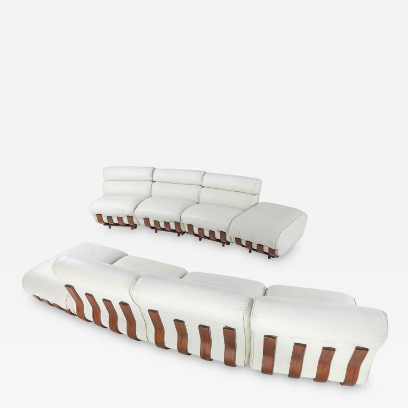 Luciano Frigerio Sectional Sofa in White Leather and Walnut Frame by Frigerio 1980s
