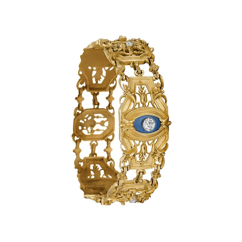 Lucien Gautrait Lucien Gautrait and Leon Gariod French Diamond Enamel Platinum and Gold Bracelet
