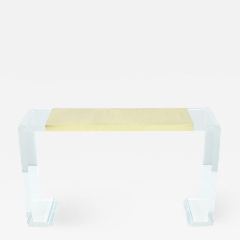 Lucite and Brass Console Table or Vanity or Small Writing Desk France 1970s