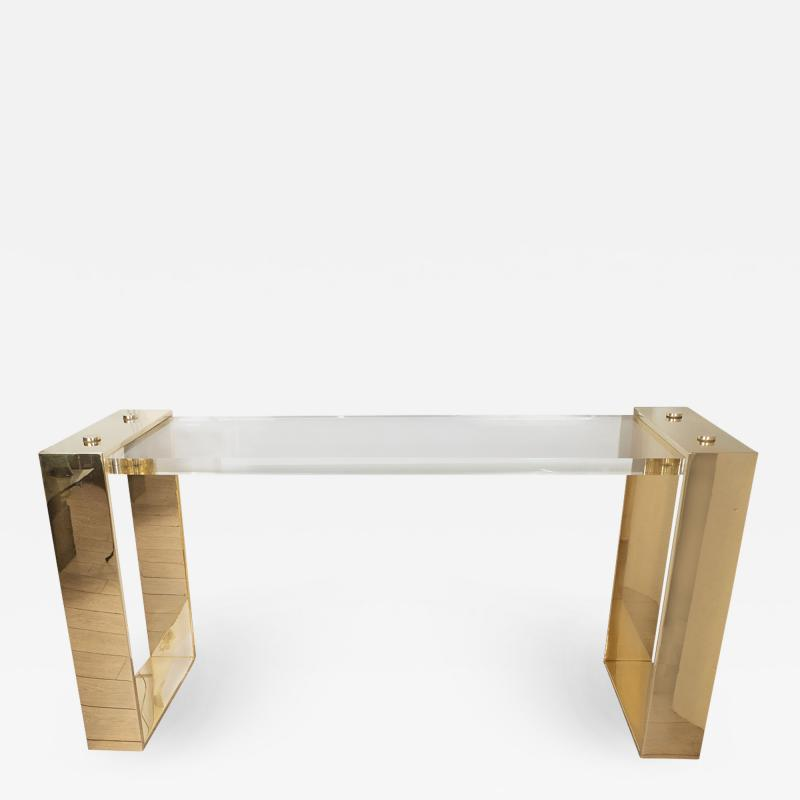 Lucite and brass console table