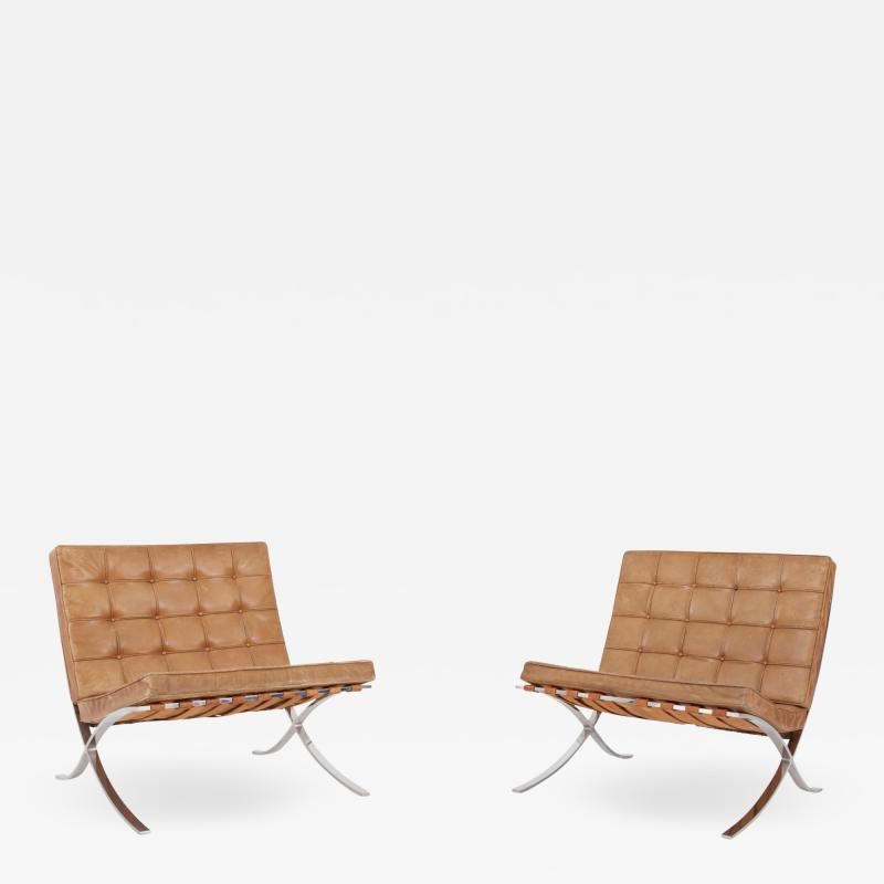 Ludwig Mies Van Der Rohe Barcelona Lounge Chairs by Ludwig Mies van der Rohe in Original Cognac Leather