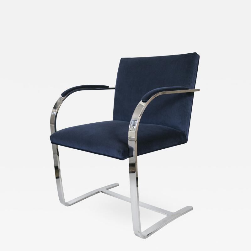 Ludwig Mies Van Der Rohe Flat Bar Brno Chair in Navy Velvet