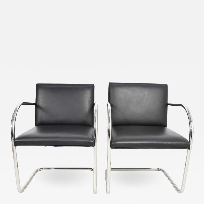 Ludwig Mies Van Der Rohe Knoll Brno Chairs in Black Leather