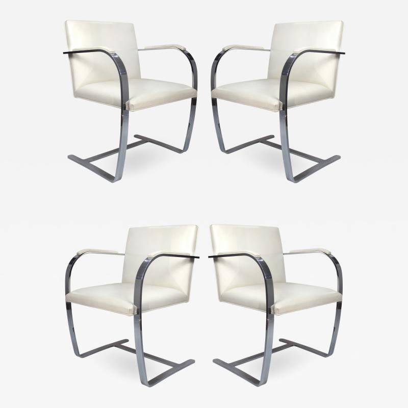 Ludwig Mies Van Der Rohe Mies Van Der Rohe Knoll Flat Bar Brno Chairs Eggshell White Leather Set of 4