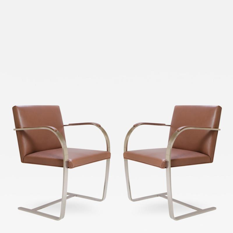 Ludwig Mies Van Der Rohe Mies van der Rohe for Knoll Brno Flat Bar Chairs in Cognac Leather