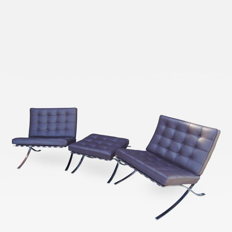 Ludwig Mies Van Der Rohe Pair of Barcelona Chairs with Single Ottoman by Mies van der Rohe for Knoll