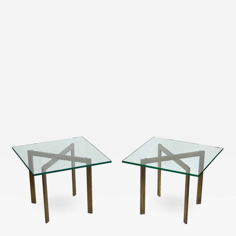 Ludwig Mies Van Der Rohe Pair of Mies van der Rohe Bronze Barcelona Side Tables
