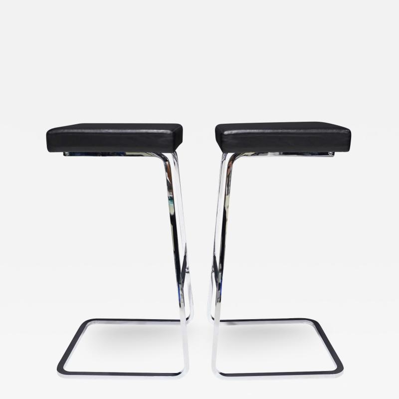 Ludwig Mies Van Der Rohe Pair of Mies van der Rohe Four Seasons Bar Stools in Black Leather