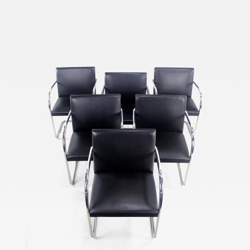 Ludwig Mies Van Der Rohe Six Mid Century Modern Armchairs by Mies Van Der Rohe for Knoll International