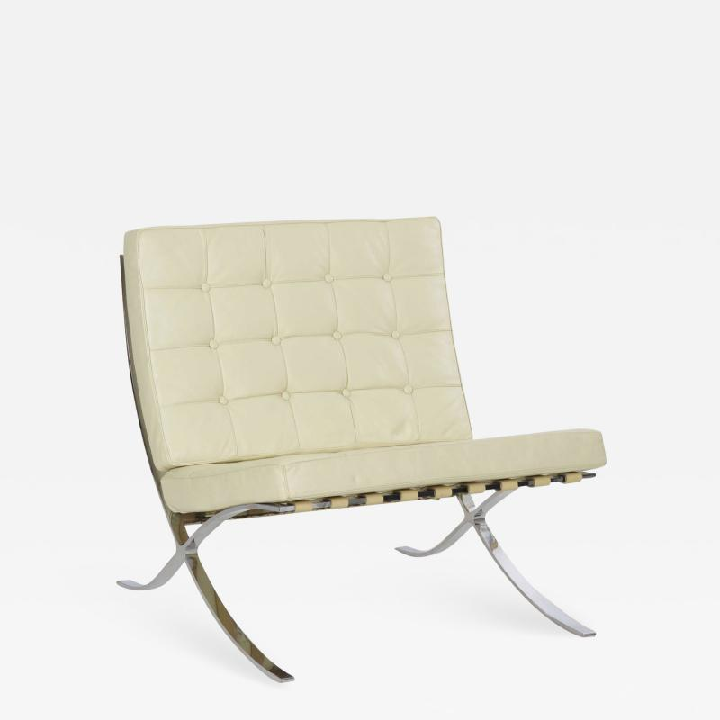 Ludwig Mies Van Der Rohe White Leather Barcelona Chair after Mies van der Rohe by Alivar