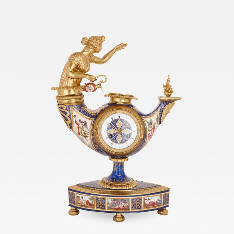 Ludwig Politzer Austrian enamel and silver gilt clock by Ludwig Politzer