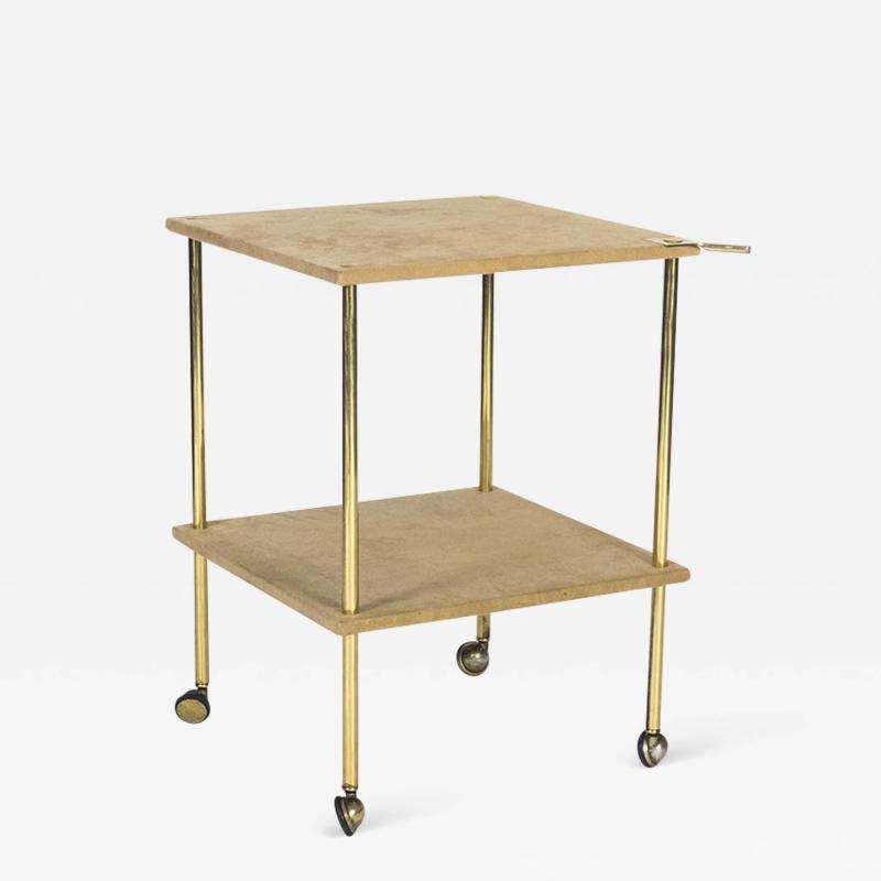 Luigi Caccia Dominioni Brass and Velvet T9 Side Table for Azucena 1970s