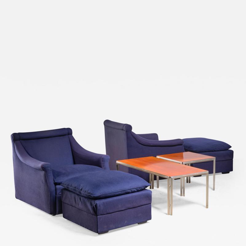 Luigi Caccia Dominioni Pair of Lounge Chairs with Ottoman by Caccia Dominioni for Azucena