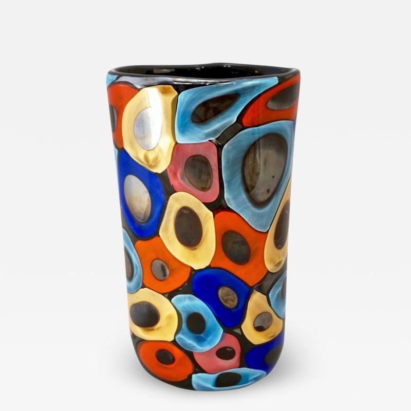 Luigi Camozzo Camozzo 1990 Modern Black Azure Blue Red Pink Yellow Murano Glass Vase