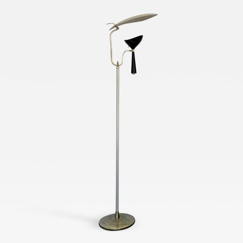 Lumen Milano Italian Mid Century Modern Metal and Brass Floor Lamp by Lumen 1950s
