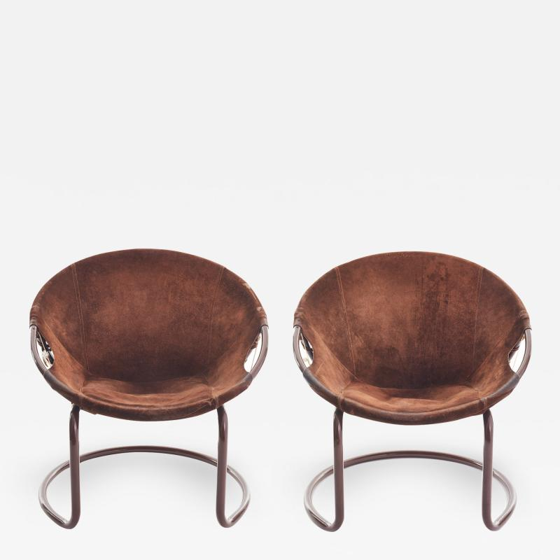 Lusch Erzeugris Midcentury German Circle Chairs by Lusch Erzeugris in Suede