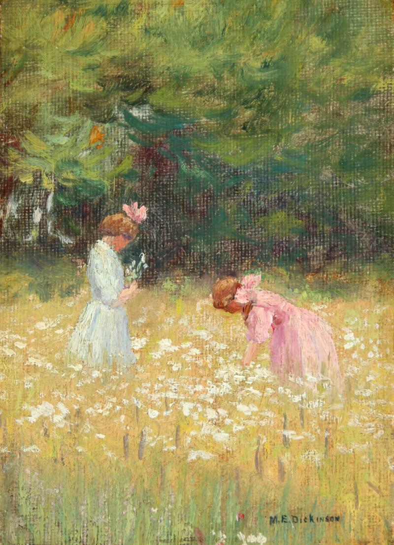 MABEL E DICKINSON POND Frances and Ruth Jennings in a Field of Flowers 1909
