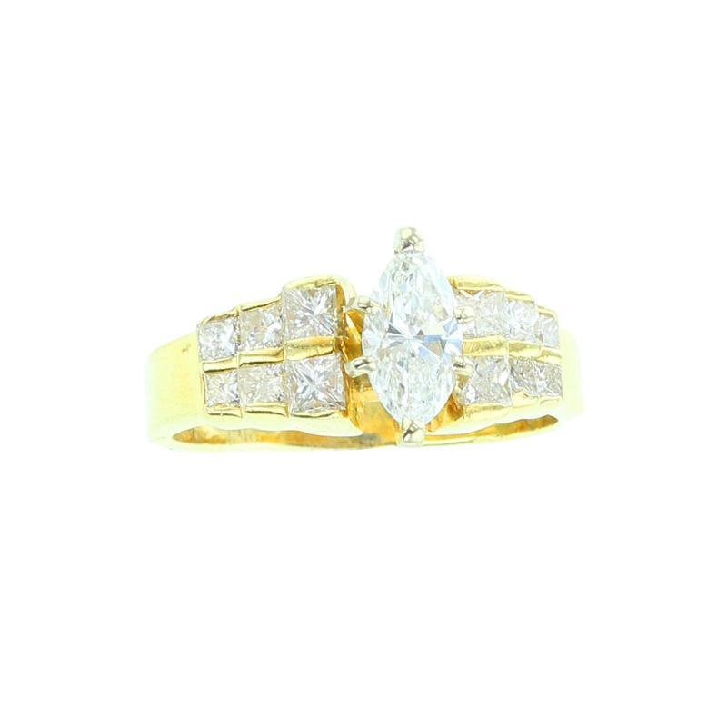 MARQUISE WHITE DIAMOND RING YELLOW GOLD